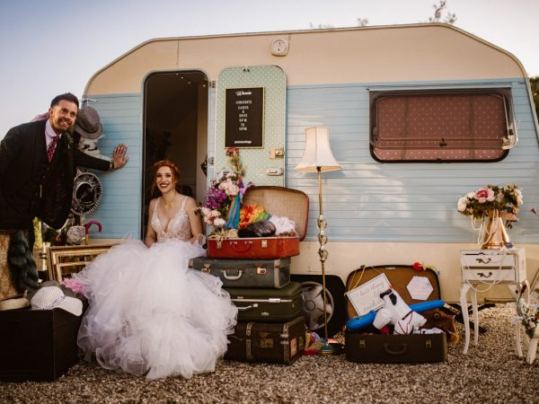 Bride and groom wedding caravan Photo Booth compasses at pattiswick